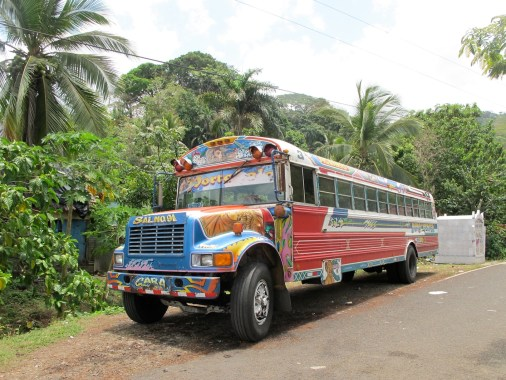 one of the many colourful buses that come and go every half hour to Panama city