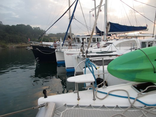 Our raft of boats in Gatun Lake