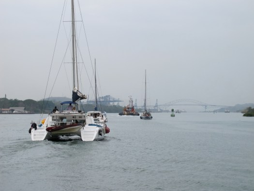 Into the Pacific, the Bridge of the Americas ahead