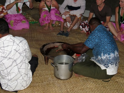 A muslin cloth is placed over the bowl of water and powdered kava is put into the muslin and then squeezed