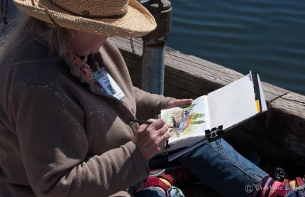 Kate sketching the Boathouse