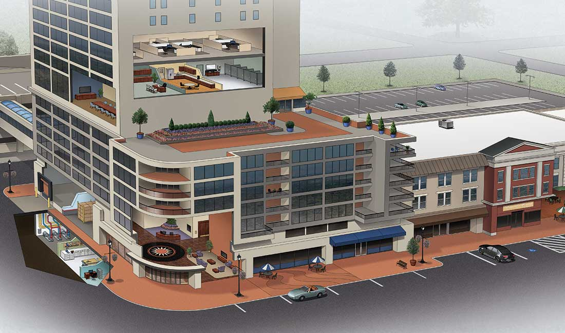 cutaway illustration of commercial building showing areas with differing paint needs