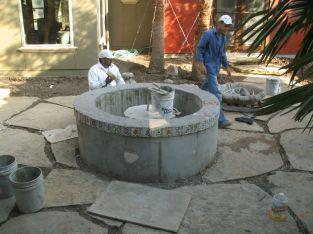 Custom brick work in progress southwest stucco