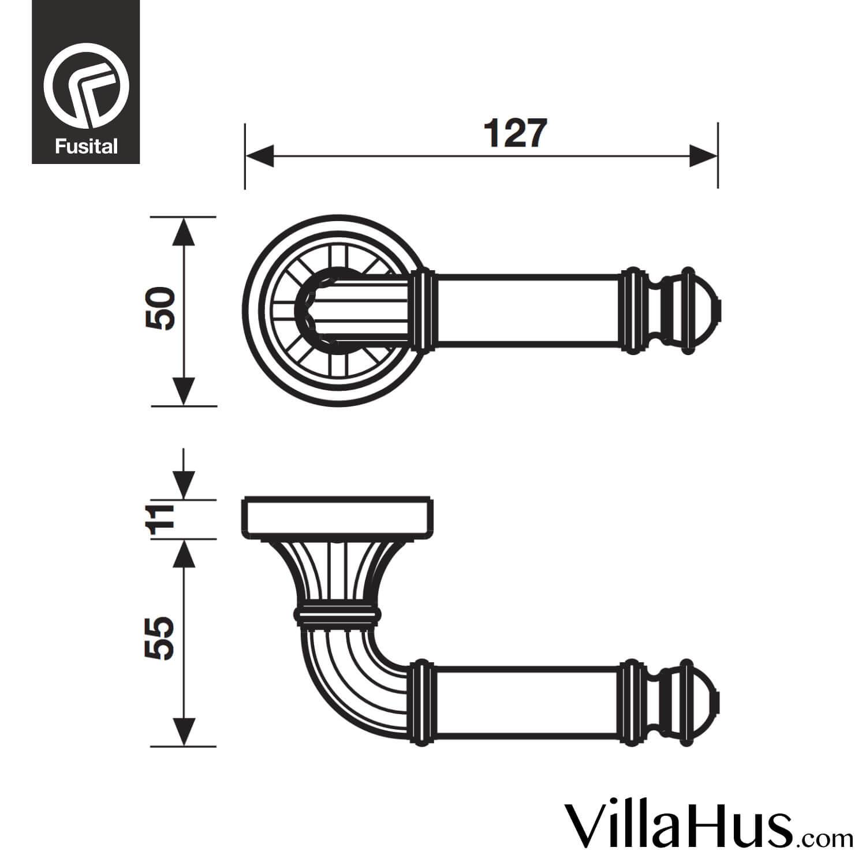 Design Door Handle H332 Brass
