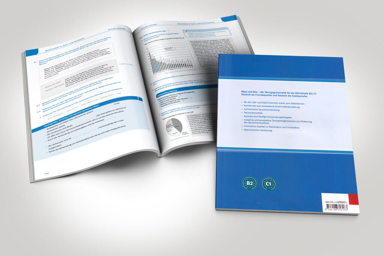 Swabianmedia realisiert DTP für das Lehrbuch Klipp und Klar, Übungsgrammatik Mittelstufe B2/C1