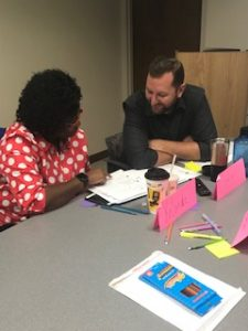 UF expert Dr. Herman Knopf works one-on-one with a CHILD Center staff member.
