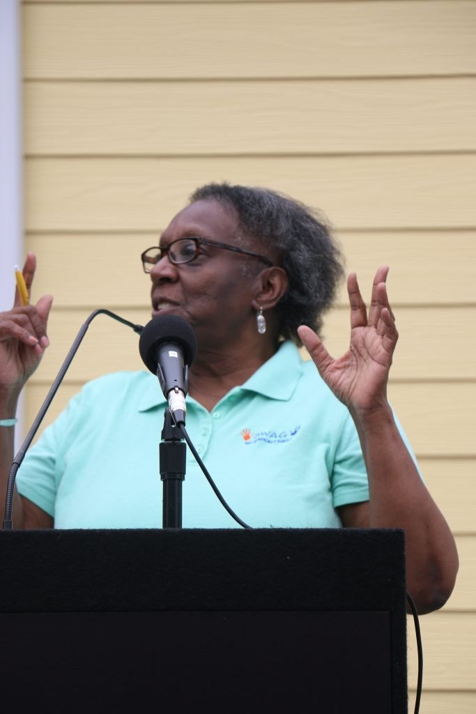 SWAG Vice Chair Joan Canton gives a speech during the CHILD Center ribbon-cutting.