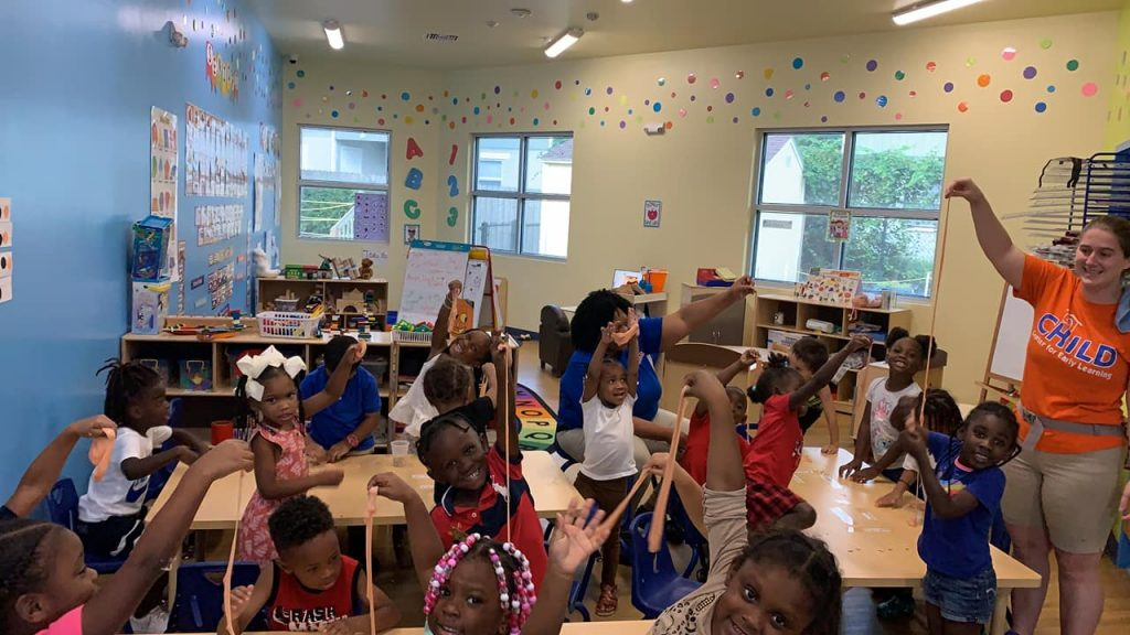CHILD Center students celebrate fall by making pumpkin slime