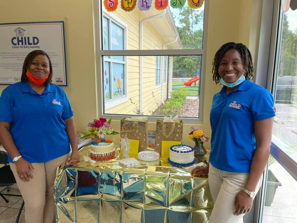 Two CHILD Center staff members at their farewell party in June 2021