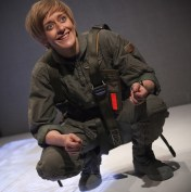 "Lucy Ellinson in the Gate Theatre production of Geroge Brant's ""Grounded."""