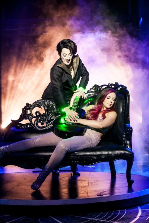 Donna Migliaccio (Daniella Espere) and Desi Oakley (Tina Girlstar) in Girlstar at Signature Theatre. Photo by Christopher Mueller.