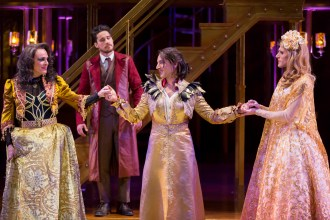 "Rick Hammerly as the Contessa, Peter Gadiot as Petruchio, Maulik Pancholy as Katherina, and Oliver Thornton as Bianca in ""The Taming of the Shrew."" (Scott Suchman)"