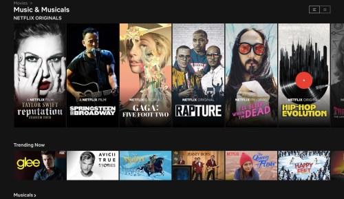 Netflix's Music & Movies Page