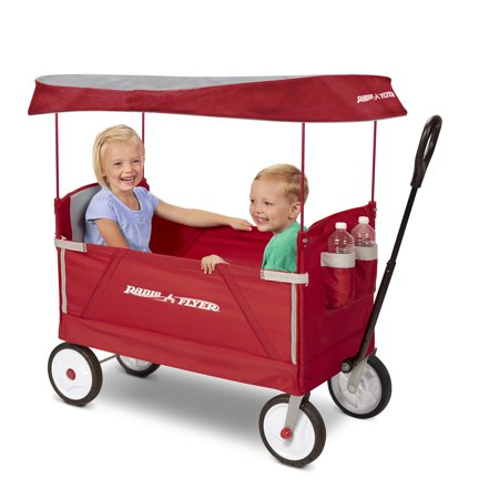 Radio Flyer, 3-in-1 EZ Fold Wagon with Canopy, Seat Belts, Red