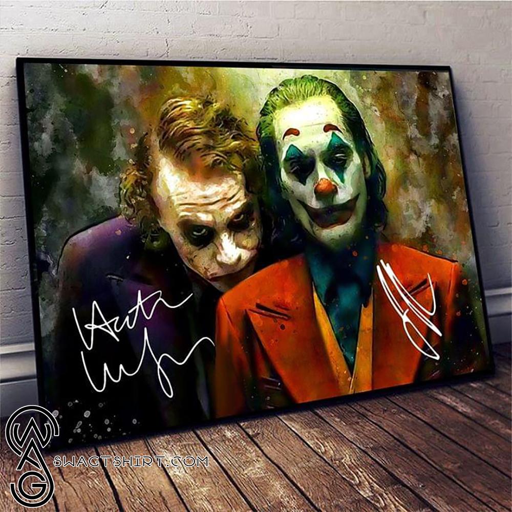 joker joaquin phoenix and heath ledger signatures poster