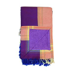 Soak up some sun with the Purple Kenyan Beach Towel! Our fair trade Kenyan Beach Towels are ethically crafted in Nairobi, Kenya. We back lightweight and absorbent hand-loomed cottonkikoycloth with quick-dry microfiber terry for extra absorption.The hidden velcro pocket in the interior is perfect for storing your keys or phone!