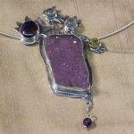 Pendant necklace with amethyst druzy, semi-precious stones.