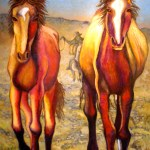 """Mustangs' Lament"", oil painting, large."
