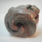 Alabaster Sculpture of Cameleon on Millstone