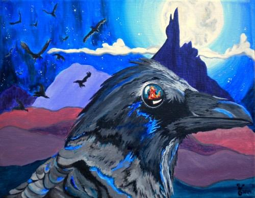 "Raven of Lower World 14x11"""