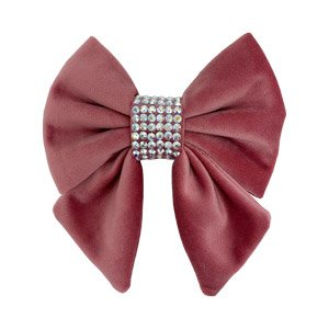 Rose dog bow made from beautiful soft velvet. Also featuring a centre completely covered in Swarovski Crystals