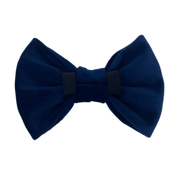 Navy blue dog bow tie back side. 2 elastic loops to pull the dog collar through to wear this dog accessory