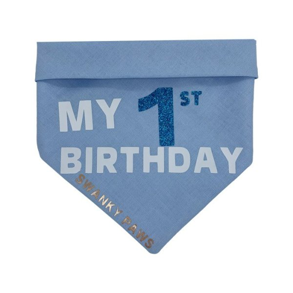 """Blue dog bandana with the text """"My 1st Birthday"""" for dogs"""