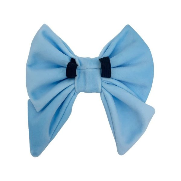 Light blue sailor dog bow tie showing the back side with 2 black elastic loops. These are what you feed the dog collar through to wear