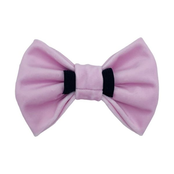 Pink luxury dog bow tie with 2 elastic loops at the back for the dog collar to pull through