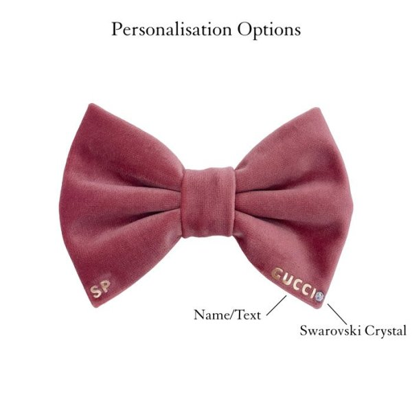 Rose dog bow tie. Pure luxury showing personalisation with the dogs name and Swarovski crystal bottom right