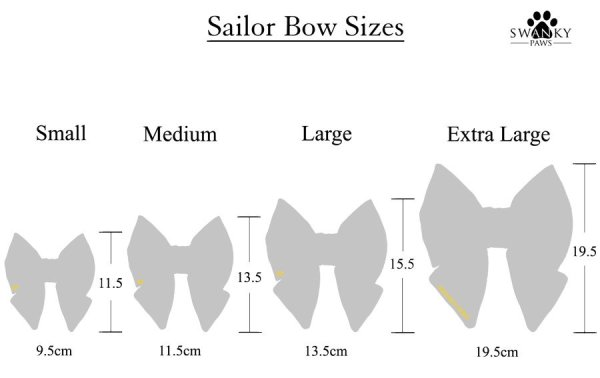 4 sailor bow sizes to show Small to Extra Large for dog sailor bows