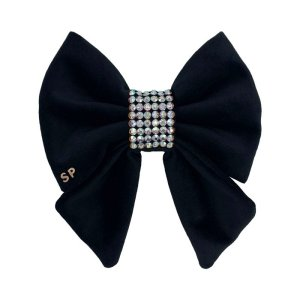 Black sailor bow tie for dogs with the centre completely covered in Swarovski Crystals. Perfect for weddings or formal occasions