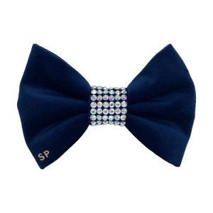 Navy blue dog bow tie made for weddings. This soft velvet bow has the centre completely covered in Swarovski Crystals