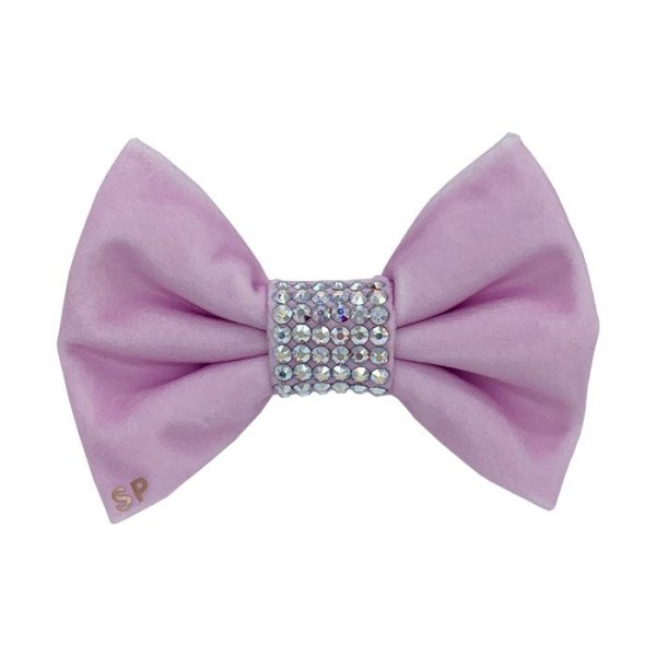 Pink wedding dog bow tie. Made on luxury pink velvet completely covering the centre with Swarovski Crystals. Perfect for weddings and formal occasions