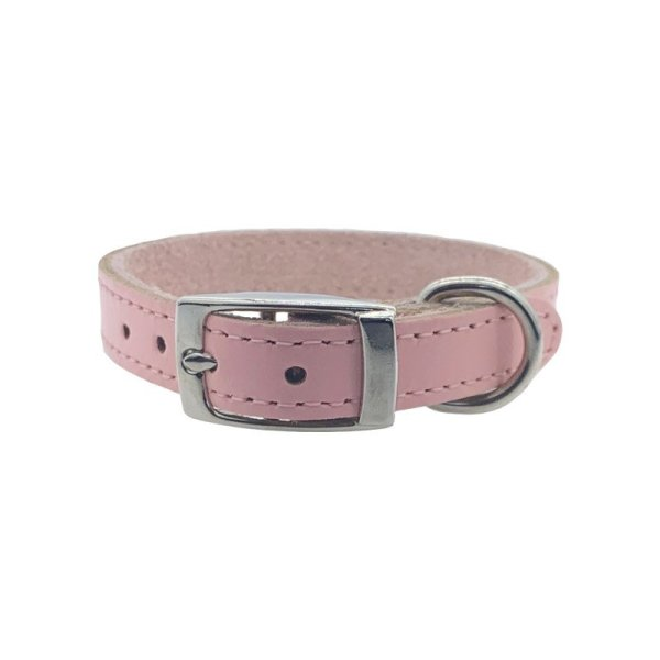 Medium size baby pink leather dog collar Swanky Paws
