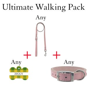 Ultimate walking pack showing 3 items you can add to save 15%. Dog collar, leash and custom ID tag all in the one pack