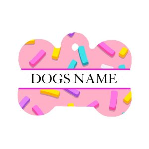 Pink sprinkle dog id pet tag showing fun sprinkle design all across the front around the dogs name