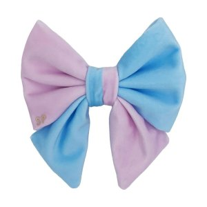 Pink and blue dog sailor bow tie. Its a luxury soft velvet bow that goes on the dog collar and can be used for pregnancy announcement