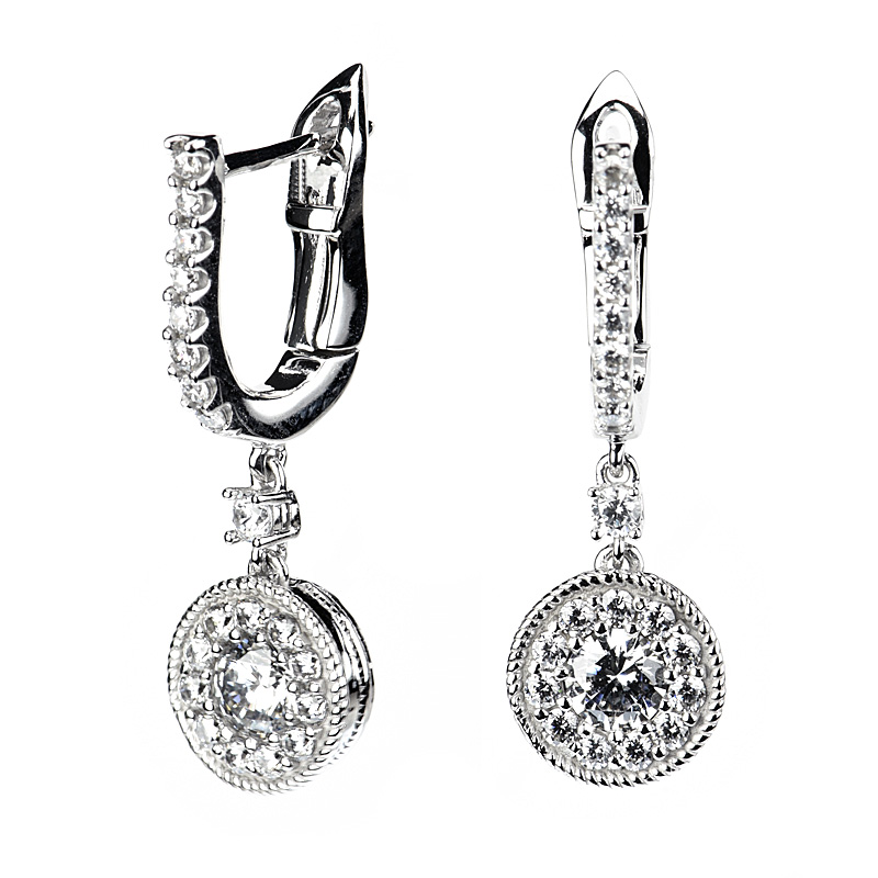 Round Invisible Halo Dangle Earrings With Tension Lock
