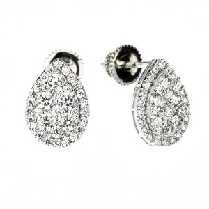 Pear Shaped Invisible Stud Earring (14K + Cubic Zirconia)