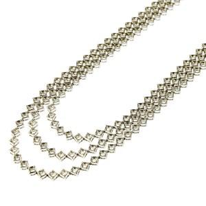 3 Rows Square Illusion Tennis Necklace