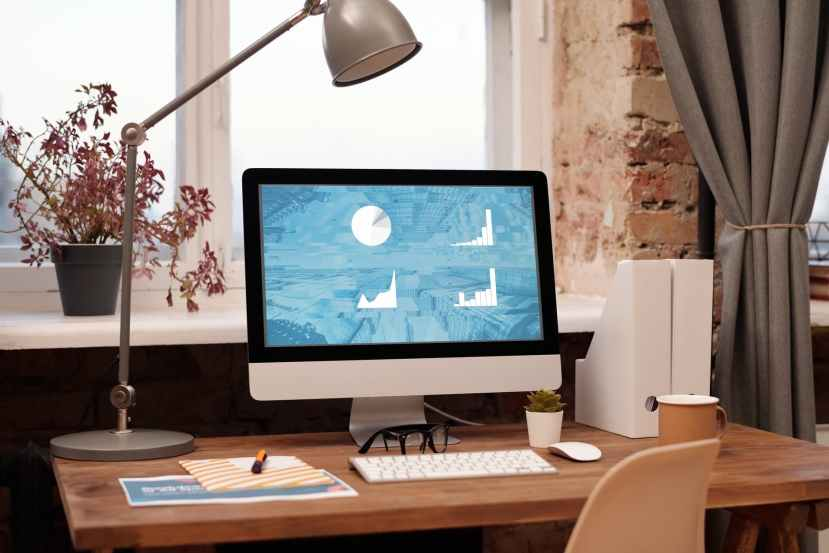 simple workspace at home