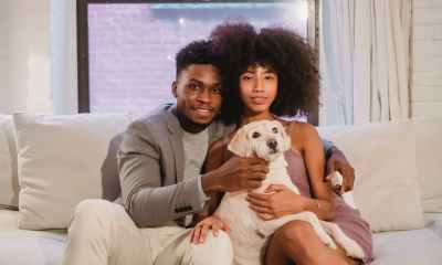 beloved young black couple cuddling and caressing dog on sofa