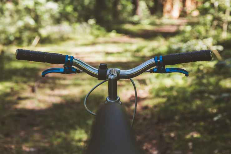 black and blue bicycle handle bar