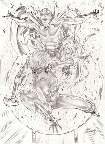 Mr. Miracle and Free Spirit, pencils by comics artist Geof Isherwood