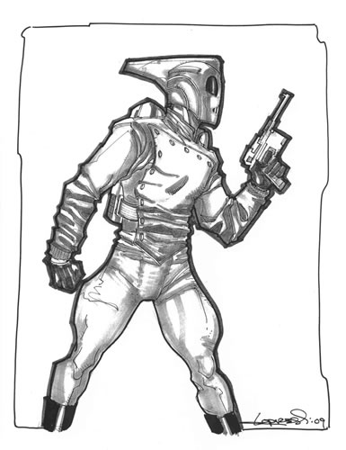 The Rocketeer, pencils and inks by comics artist Aaron Lopresti