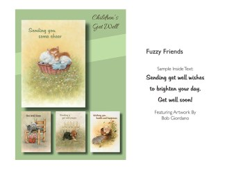 BOXED CARDS GET WELL CHILD FUZZY FRIENDS