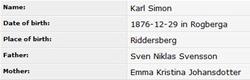 Carl Simon Svensson -  Birth Record - DB - 12 29 1876 - Riddersberg