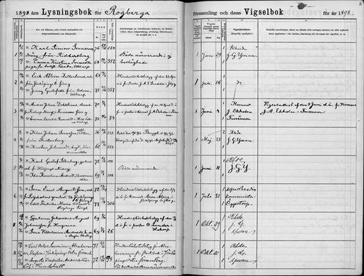 Provenance - Marriage - Karl Simon Svensson - Emma Christina Svensdotter - 1 29 1898 - Rogberga