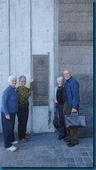 Arlene, Betty, Ingrid and Marty at entrance to Mass Archives